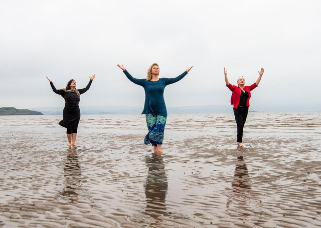 Performers Nerea Bello and  Mairi Morrison joined theatremaker Julia Taudevin on Silverknowes Beach to help launch this year's Made in Scotland showcase at the Fringe. (Picture: Lisa Ferguson)