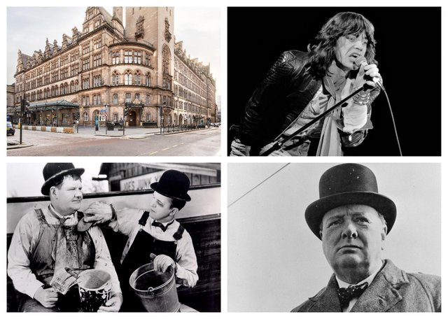 The voco® Grand Central  Hotel in Glasgow was built at Central Station as train travel opened up across the country. The hotel has experienced some pretty special comings and goings over time with (from clockwise top right) Mick Jagger, Winston Churchill and Laurel and Hardy among the famous guests who have checked in. PICS: CC.