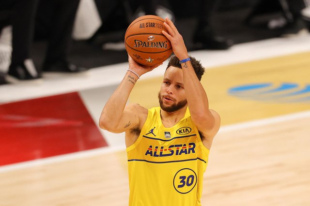 Steph Curry of the Golden State Warriors is the three-point king.