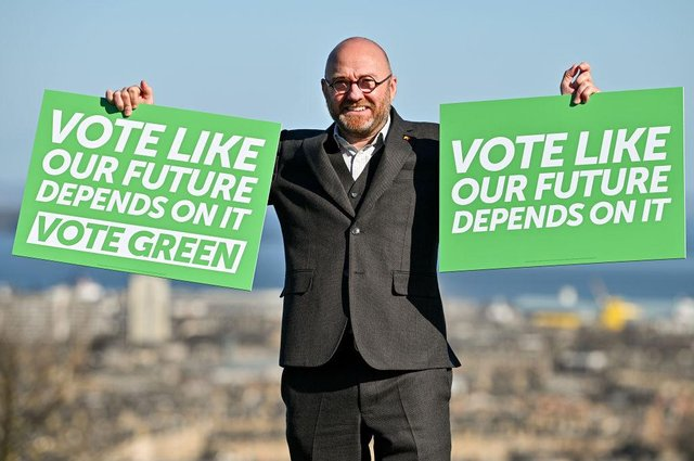 Scottish Greens co-leader Patrick Harvie helps launch party's 2021 Holyrood election campaign yesterday (Picture: Jeff J Mitchell/Getty)