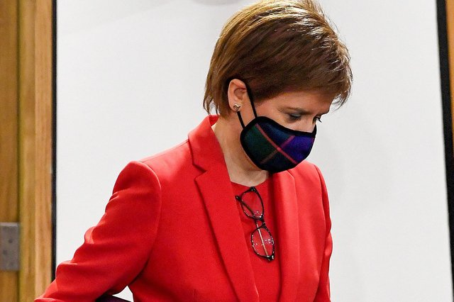 Nicola Sturgeon arriving to give evidence to the Committee on the Scottish Government Handling of Harassment Complaints, at Holyrood yesterday.