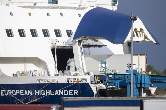 A lorry boards the Larne to Cairnryan P&O European Highlander ferry at Larne Port. At Cairnryan, plans for a border post are set to cost £30m.