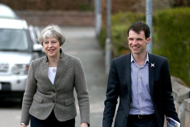 Andrew Bowie, right, with former Prime Minister Theresa May.