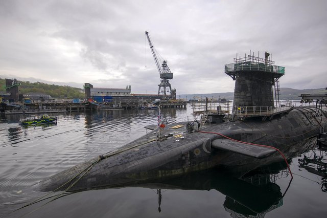 Vanguard-class submarine HMS Vigilant, one of the UK's four nuclear warhead-carrying submarines at HM Naval Base Clyde at Faslane (Picture: James Glossop/AFP via Getty Images)