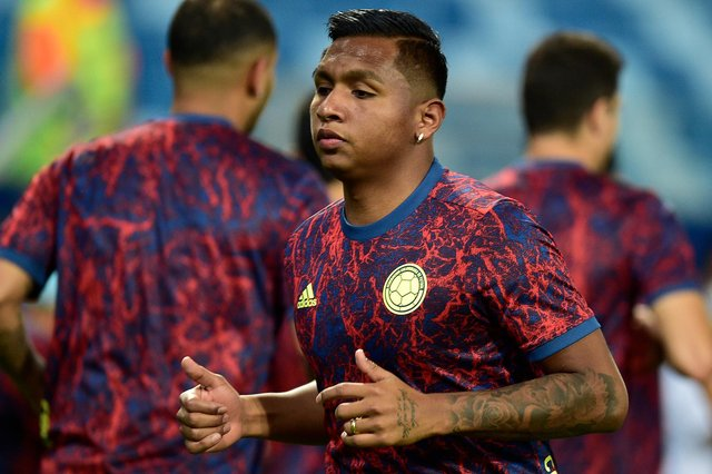 Rangers striker Alfredo Morelos warms up before Colombia's Copa America match against Ecuador on June 13. He has made just one substitute appearance at the tournament so far. (Photo by Rogerio Florentino/Getty Images)