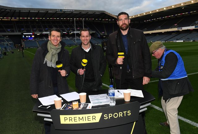 The Premier Sports PRO14 rugby coverage is presented by Dougie Vipond, with analysis from Chris Paterson and Jim Hamilton. Picture: Gary Hutchison/SNS