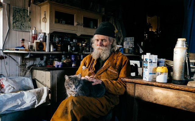 Jake Williams, moved into his off-grid home after falling out with landlords in the '70s. The property, located two-miles down a forestry track in Western Aberdeenshire, has no mains electricity, water or conventional sewage system. PIC: Copyright Elliot Caunce.