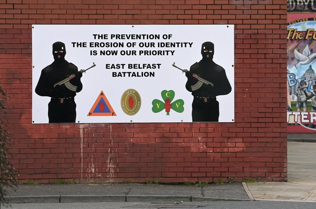 A Loyalist paramilitary mural pictured in Belfast, Northern Ireland, in January (Picture: Charles McQuillan/Getty Images)