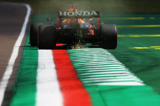 Max Verstappen of the Netherlands driving the (33) Red Bull Racing RB16B Honda on track during practice ahead of the F1 Grand Prix of Emilia Romagna at Autodromo Enzo e Dino Ferrari on 16 April 2021 in Imola, Italy. (Photo by Bryn Lennon/Getty Images)