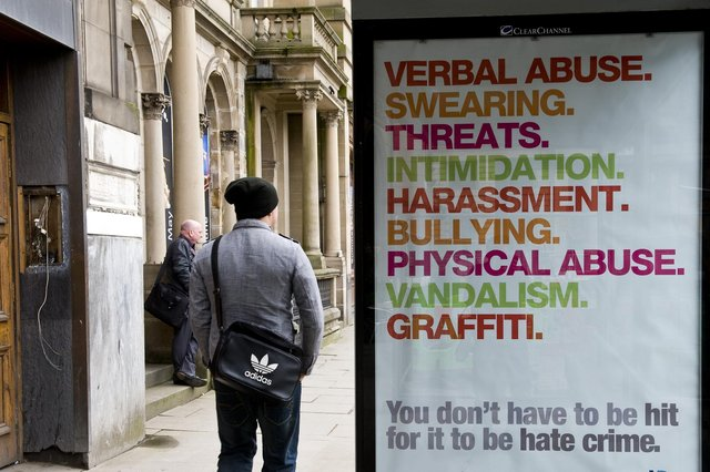 This police campaign against hate crime stressed that the offenders did not have to be violent to be prosecuted, but attempts to toughen the law in the Hate Crime Bill have proved controversial (Picture: Ian Georgeson)