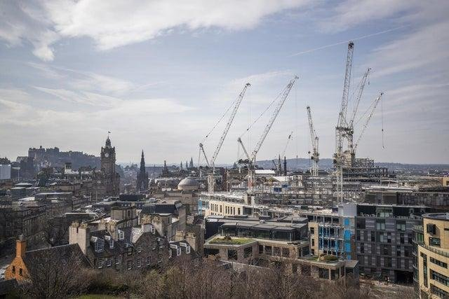 Work has stopped on Edinburgh St James' centre as a result of the construction ban