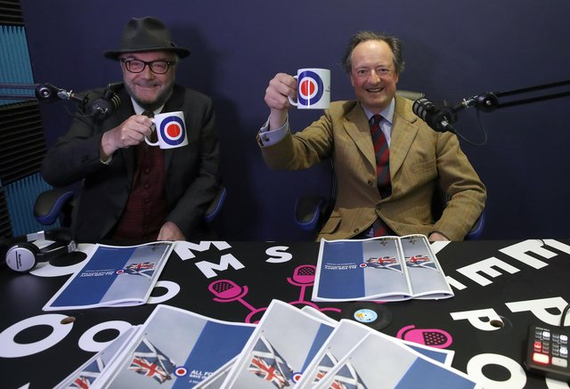 George Galloway and Jamie Blackett(r) during the launch of the Alliance 4 Unity party's manifesto for the Scottish Parliamentary election, at reflexblue studio, Glasgow.