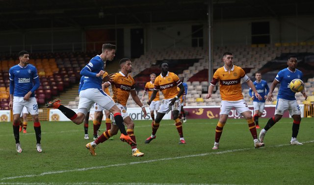 Cedric Itten scores his fourth goal in three appearances against Motherwell to earn a 1-1 draw for Rangers at Fir Park on Sunday. (Photo by Ian MacNicol/Getty Images)
