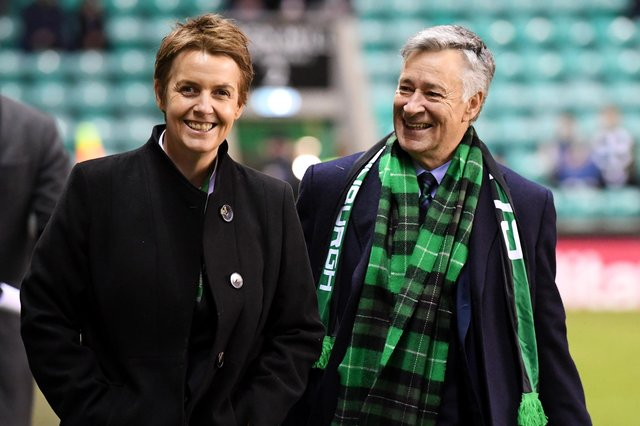Leeann DEmpster (left) with Hibs owner Ron Gordon, is a reported target for Hearts