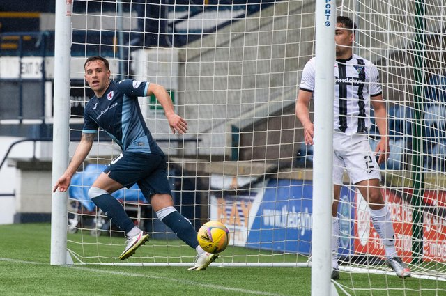 Raith Rovers striker Lewis Vaughan (L) checks with the linesman before celebrating his latest goal against Dunfermline on Saturday  (Photo by Paul Devlin / SNS Group)