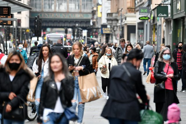 Shoppers pictured on Monday 26 April, which saw footfall rise 21.8 per cent compared to 2019 levels. Picture: John Devlin.