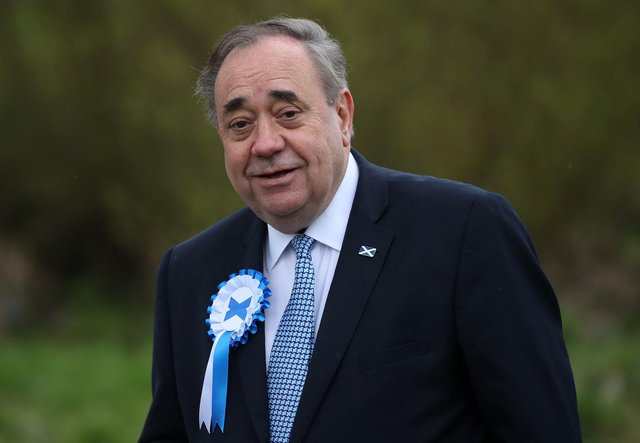 Former First Minister Alex Salmond launches international chapter of Alba Party at joint rally for Germans for Yes and Netherlands for Scottish Independence. (Credit: Andrew Milligan/PA Wire)