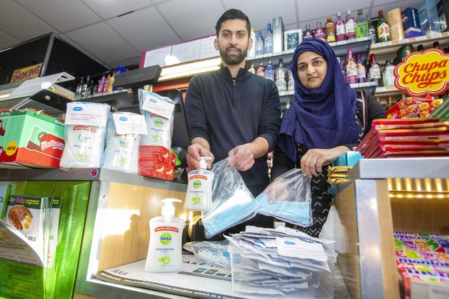 Shopkeepers Asiyah Javed and husband Jawad from Day Today Express, in Stenhousemuir, Falkirk