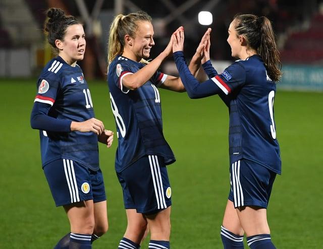 EDINBURGH, SCOTLAND - OCTOBER 23: Caroline Weir (R) celebrates her goal to make it 3-0 Scotland during a UEFA Women's EURO 2021 qualifier between Scotland and Albania at Tynecastle Park on October 23, 2020, in Edinburgh, Scotland. (Photo by Craig Foy / SNS Group)