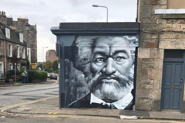 This Frederick Douglass mural was painted on the site of his former home in Tollcross in Edinburgh last year. Picture: David Silkenat