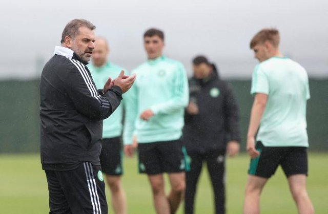 Celtic Manager Ange Postecoglou takes training at Lennoxtown.  (Photo by Craig Williamson / SNS Group)