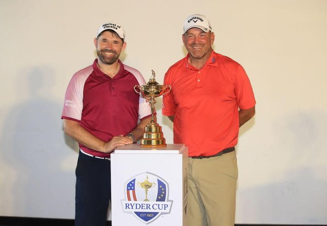 Europe's current Ryder Cup captain Padraig Harrington and his predecessor, Thomas Bjorn, pose with the trophy. Picture: Andrew Redington/Getty Images.