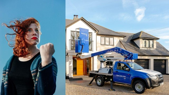 The world's first ever cherry picker bar is set to appearin Edinburgh next month, with Fringe comedian Eleanor Morton pulling alcohol-free pints (Photo: COW PR).