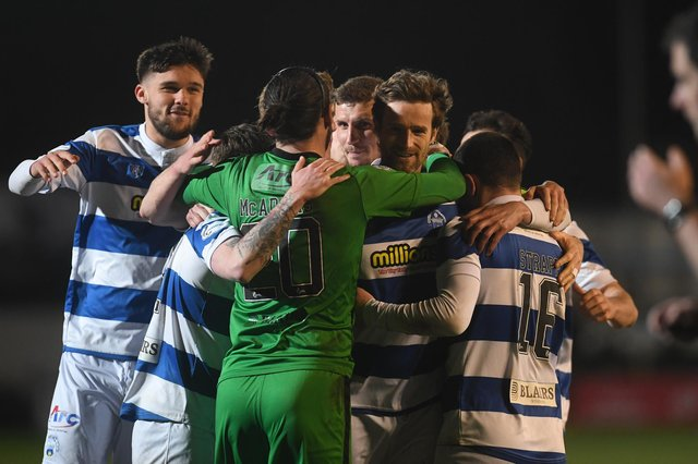 Morton celebrate a penalty-shootout victory over Dunfermline at Cappielow.