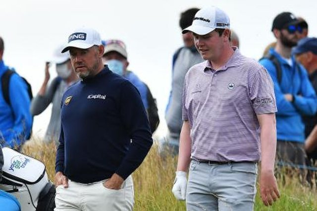 Bob MacIntyre and Lee Westwood chat during the first round of the abrdn Scottish Open at The Renaissance Club last week. Picture: Mark Runnacles/Getty Images.