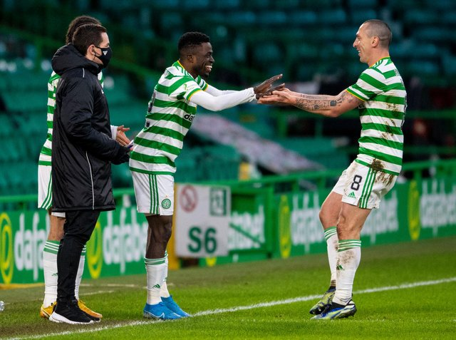 """John Kennedy says he won't simply """"dismiss"""" Scott Brown and  seek to get Ismaila Soro """"up to speed"""" despite the fact that the 35-year-old is in the last weeks of his Celtic career and the Ivorian is considered an important player going forward. (Photo by Ross MacDonald / SNS Group)"""
