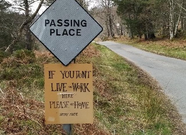 A sign at the Forest of Birse in Aberdeenshire which appeared in Spring 2020, warning visitors to stay away during the Covid-19 lockdown. Eighty years earlier, and restrictions were placed on the movement of thousands of people throughout the Highlands.
