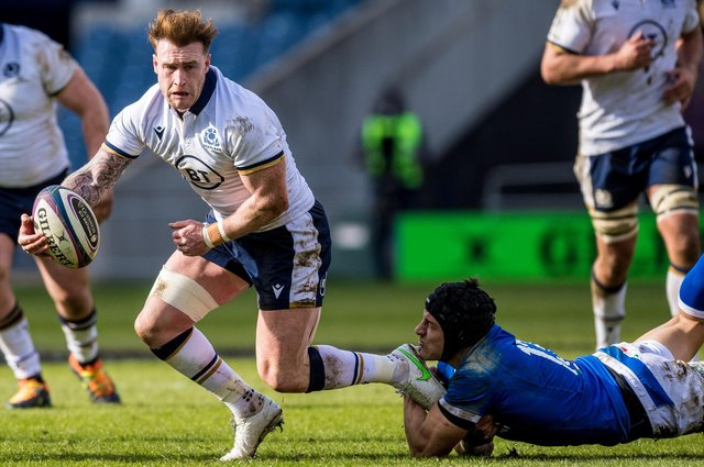Scotland captain Stuart Hogg started at stand-off for the first time in a Test match in the 52-10 win over Italy. Picture: Ross Parker/SNS