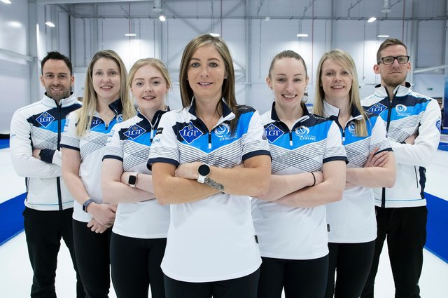 Team Muirhead, from left: David Murdoch (coach), Lauren Gray, Sophie Sinclair, Eve Muirhead, Jenn Dodds, Vicky Wright and Kristian Lindstrom (coach). Picture: Graeme Hart
