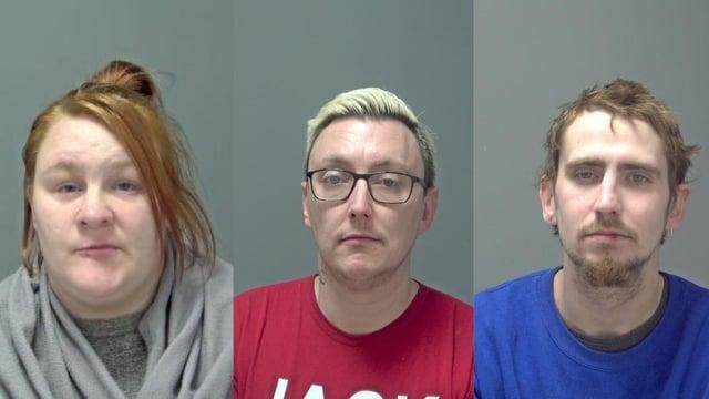 Becki West-Davidson, 30, Sebastian Smith, 35, and Sean Palmer 31 who were given life sentences for the murder of Joe Pooley (Photo: Suffolk Police)