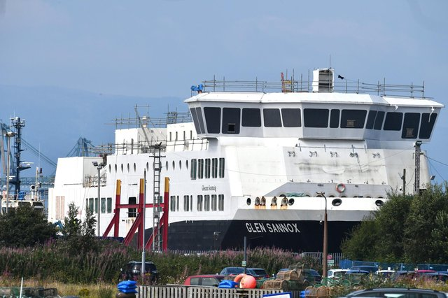 Glen Sannox and a sister ferry are being built at Ferguson's shipyard in Port Glasgow. Picture: John Devlin