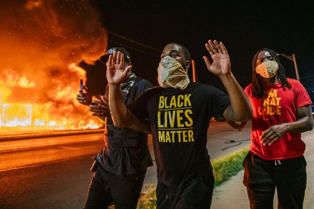 Demonstrators took to the streets in Kenosha following the shooting of black man Jacob Blake (Getty Images)