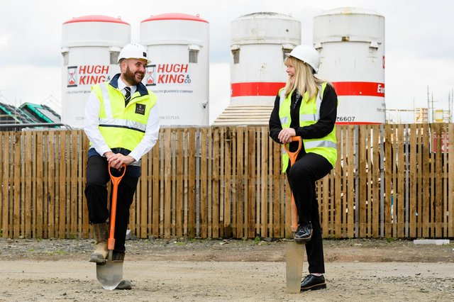 Chris Sinnet (senior site manager) and Lynsey Fotheringham (head of housing, West Lothian Housing Partnership). Picture: Ian Georgeson Photography
