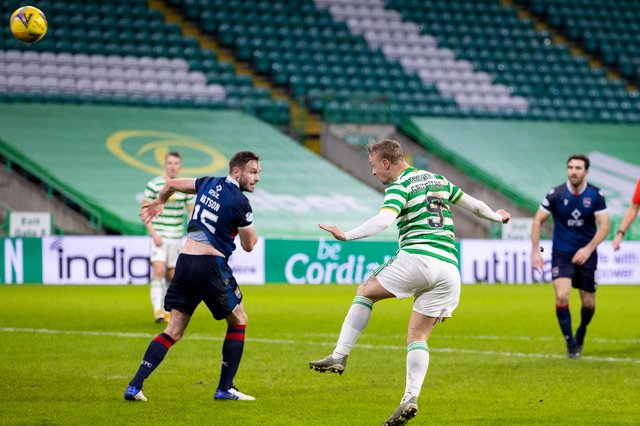 Celtic striker Leigh Griffiths, on his first league start since March, makes it 2-0 v Ross County with a well-placed header (Photo by Craig Williamson / SNS Group)