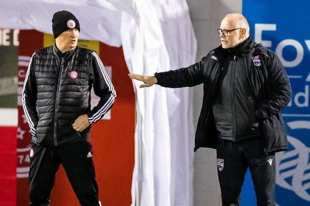 Hamilton Accies manager Brian Rice with his former boss, Ross County's John Hughes. Picture: SNS