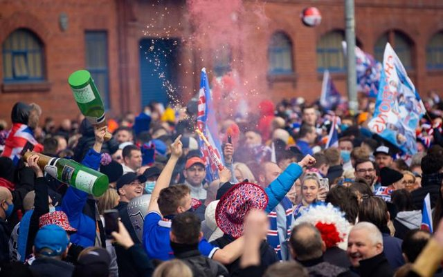 Rangers fans gather outside Ibrox as they are crowned champions on March 07, 2021, in Glasgow, Scotland. (Photo by Alan Harvey / SNS Group)