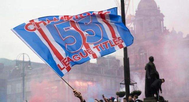 Rangers fans gathered at George Square after being crowned champions on March 07, 2021, in Glasgow, Scotland. (Photo by Craig Foy / SNS Group)