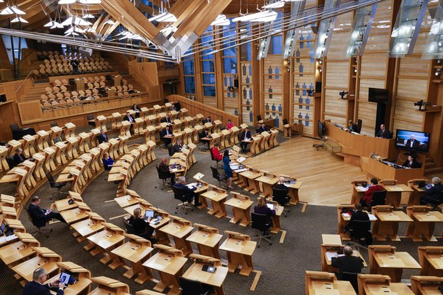 Kate Forbes delivers her budget at the Scottish Parliament. Picture: Robert Perry/Getty Images