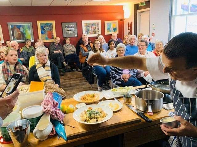 Chef Douglas Lisi demonstrates his Italian dishes at Kirkcudbright Food Festival 2019