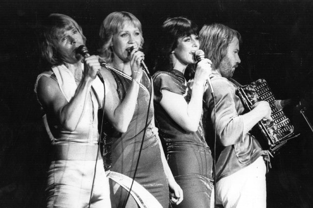 Swedish pop group Abba, (from left to right) Bjorn Ulvaeus, Agnetha Faltskog, Anni-Frid Lyngstad and Benny Andersson, in concert in 1979 (Picture: Evening Standard/Getty Images)
