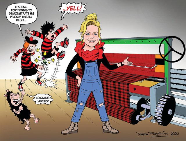 A cartoon showing Dennis and Minnie the Minx larking about next to a weaving loom