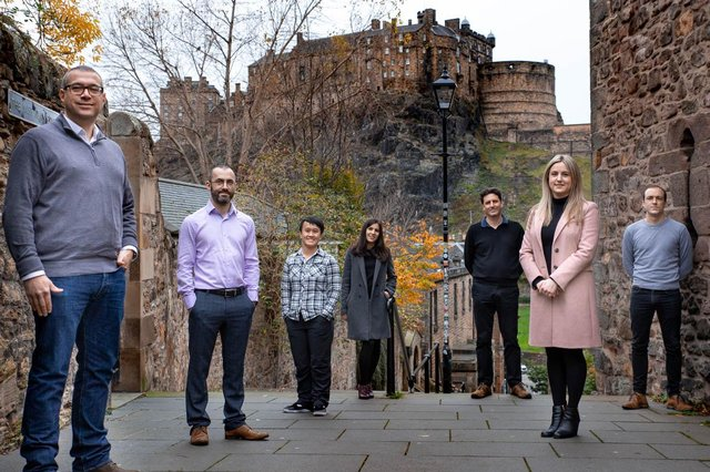 Fergus Kennedy, vice president of engineering, far left, with some of the UserTesting team in Edinburgh. Picture: Ernesta Norvaisaite