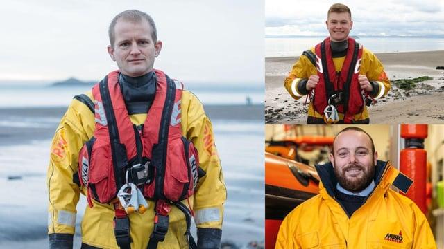 RNLI Kinghorn volunteer rescuers Neil Chalmers, Kerr Milne and  Robert Rutherford.