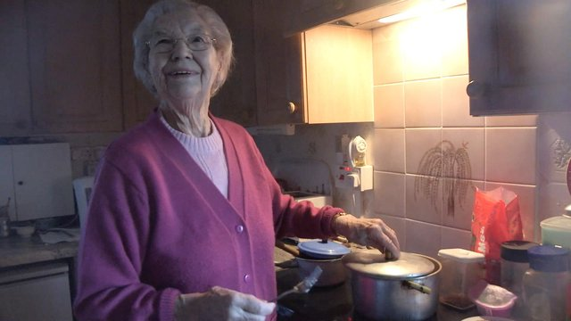 Molly Forbes in the kitchen of her mobile home  - which she called Paradise. PIC: Montrose Pictures.