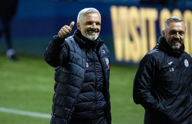 St Mirren manager Jim Goodwin at full time during the Scottish Cup Quarter Final between Kilmarnock and St Mirren at BBSP Stadium, Rugby Park  on April 26, 2021, in Kilmarnock, Scotland. (Photo by Craig Williamson / SNS Group)