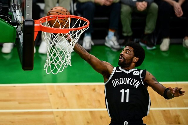 Kyrie Irving of the Brooklyn Nets had a bottle thrown at him during the game against his former club, the Boston Celtics. Picture: Maddie Malhotra/Getty Images